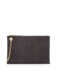 Neiman Marcus Snake Embossed Large Clutch Bag Charcoal