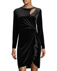 Tahari By Arthur S. Levine Long Sleeve Velvet Dress Black
