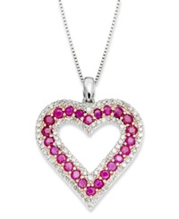 Macy's Sterling Silver Necklace Ruby 1 1 2 Ct. T.W. And Diamond 1 2 Ct. T.W. Heart Pendant
