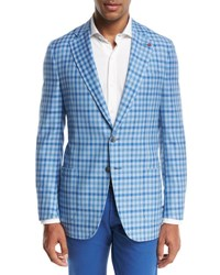 Isaia Domenico Gingham Two Button Sport Coat Light Blue White