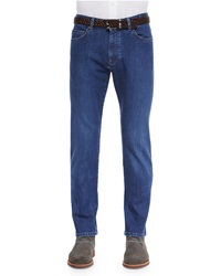 Ermenegildo Zegna Slim Fit Stretch Denim Jeans Blue