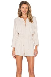 Derek Lam Lace Up Romper Beige