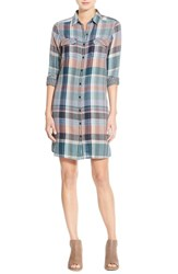 Caslonr Petite Women's Caslon Plaid Cotton Two Pocket Shirtdress Teal Britt Plaid