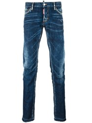 Dsquared2 Slim Creased Detail Jeans Blue
