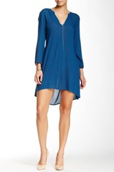 Glam The Solid Rayon Semi Hi Lo V Neck Dress Blue