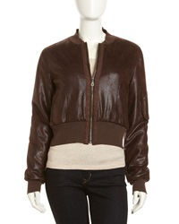 Fade To Blue Faux Leather Bomber Jacket Xs