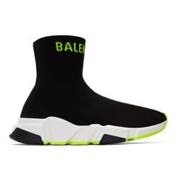 Balenciaga Black And Yellow Logo Speed Sneakers