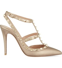 Valentino Rockstud 100 Leather Heeled Courts Bronze