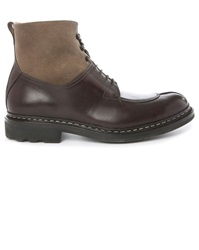 Heschung Gingko Brown Dual Fabric Laced Boots