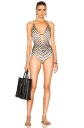 Missoni Mare Halter Swimsuit In White Metallics Geometric Print Black Stripes Geom White Metallics Geometric Print Black Stripes Geom