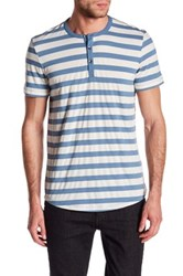 Kenneth Cole Striped Henley Shirt Blue