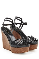 Sergio Rossi Leather Platform Wedges Black