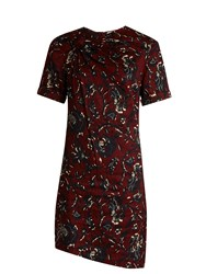Etoile Isabel Marant Jade Twist Front Floral Print Dress Burgundy