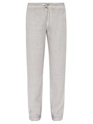120 Lino Wide Leg Linen Trousers Grey