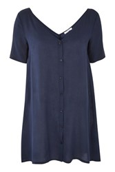 Glamorous Button Front T Shirt Dress By Navy Blue