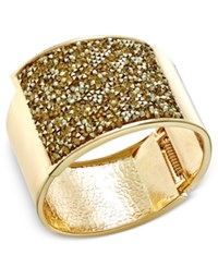 Inc International Concepts Rose Gold Tone Glittery Wide Hinged Bangle Bracelet Only At Macy's