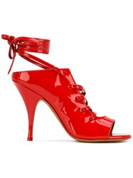 Givenchy Ankle Wrap Sandals Red