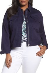 Sejour Plus Size Women's Crop Utility Jacket Navy Dusk