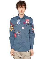 Dsquared Stretch Cotton Twill Military Shirt Blue