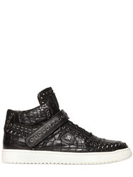John Richmond Croc Embossed Leather High Top Sneakers Black