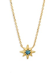 Anzie Blue Topaz And 14K Gold Pendant Necklace