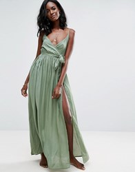 Asos Woven Wrap Maxi Beach Dress Green