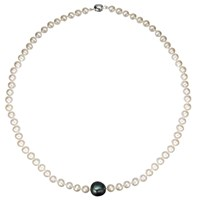 A B Davis Baroque River Pearl 18 Necklace Black White