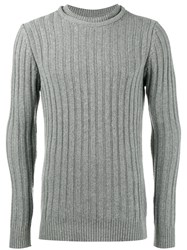 Lot 78 Lot78 Ribbed Knitted Crew Neck Sweater Polyamide Viscose Cashmere Wool S Grey