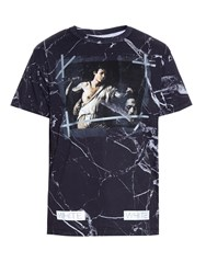 Off White Marble Print Cotton T Shirt