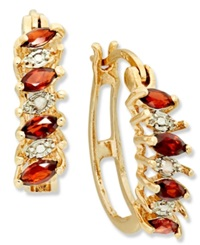 Victoria Townsend 18K Gold Over Sterling Silver Earrings Garnet 3 4 Ct. T.W. And Diamond Accent Hoop Earrings