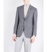 Canali Puppytooth Patterned Wool Jacket Grey