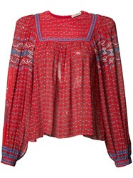 Ulla Johnson Patterned Pleated Blouse Red