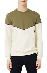 Topman Men's Chevron Colorblock Crewneck T Shirt