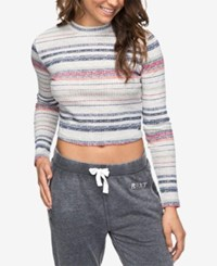 Roxy Juniors' Striped Cropped Top Heritage Gray