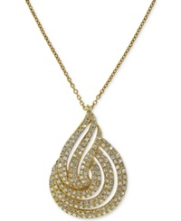 Effy Collection Effy D'oro Diamond Swirl Pendant Necklace 3 4 Ct. T.W. In 14K Gold Yellow Gold
