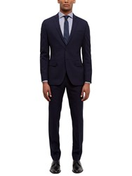 Jaeger Wool Shadow Check Slim Fit Suit Trousers Navy