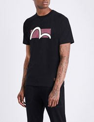 Evisu Logo Print Cotton Jersey T Shirt Black
