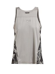 Adidas By Stella Mccartney Run Adizero Snake Print Performance Tank Top Grey Multi