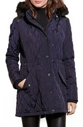 Lauren Ralph Lauren Women's Quilted Anorak With Faux Fur Trim Dark Navy