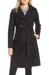 Trina Turk Brystl Gun Flap Trench Coat Black