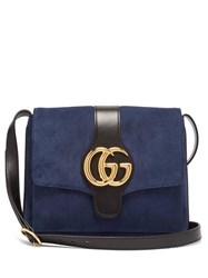 Gucci Arli Gg Suede And Leather Cross Body Bag Navy