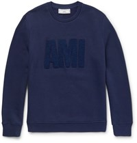 Ami Alexandre Mattiussi Embroidered Fleece Back Cotton Jersey Sweatshirt Royal Blue
