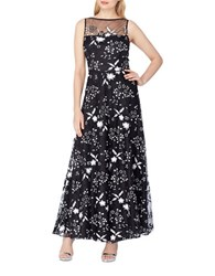Tahari By Arthur S. Levine Contrast Floral Gown Black White