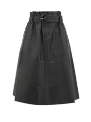 Proenza Schouler High Rise Belted Nappa Leather Skirt Black
