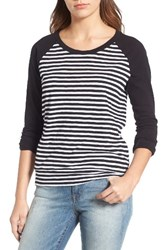 Caslonr Women's Caslon Lightweight Colorblock Cotton Tee White Black Maxine Stripe