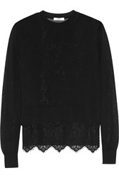 Erdem Signe Layered Cotton Blend And Lace Sweater Black