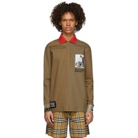 Burberry Beige Printed Cuffs Polo