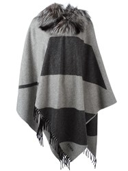 Fendi Fox Fur Collar Poncho Grey