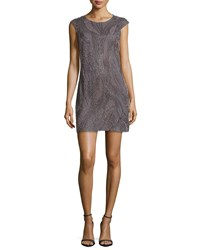 Phoebe Couture Cap Sleeve Beaded Cocktail Dress Women's
