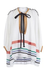 Sonia Rykiel Braided Voile Knit Tunic White Red Blue